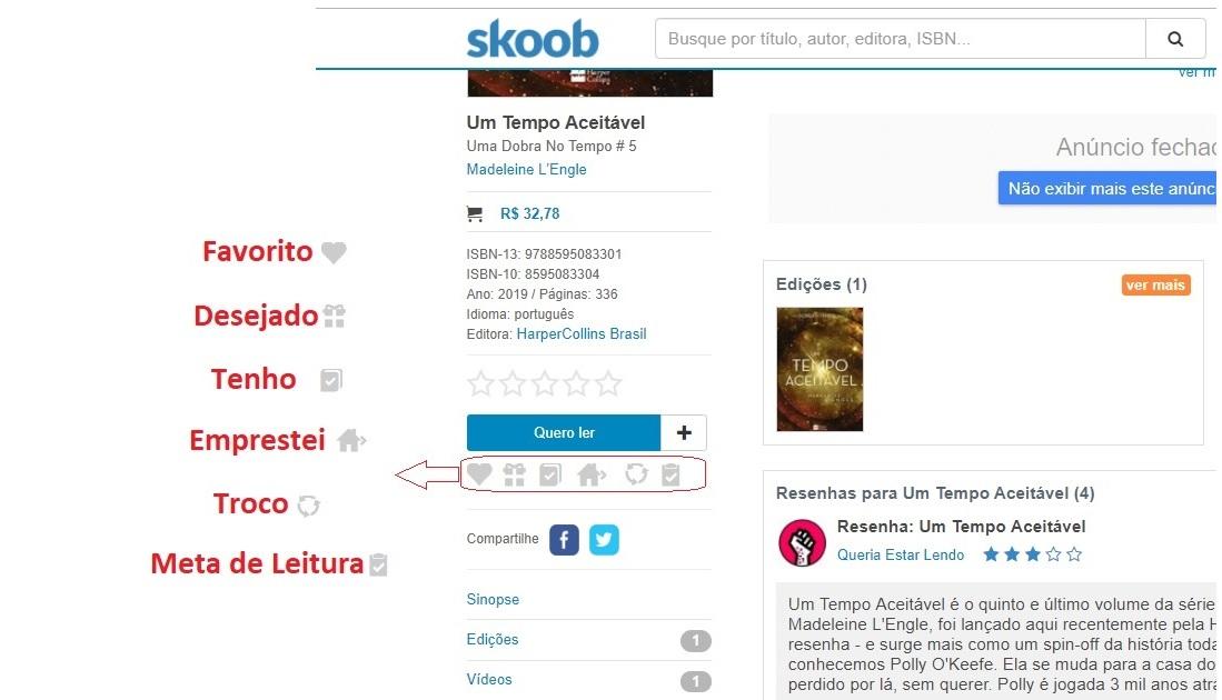 Classificações de livro no Skoob