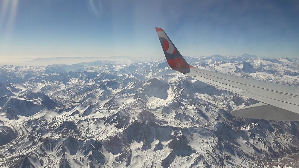 Vista da Cordilheira dos Andes no Avião - Santiago Chile