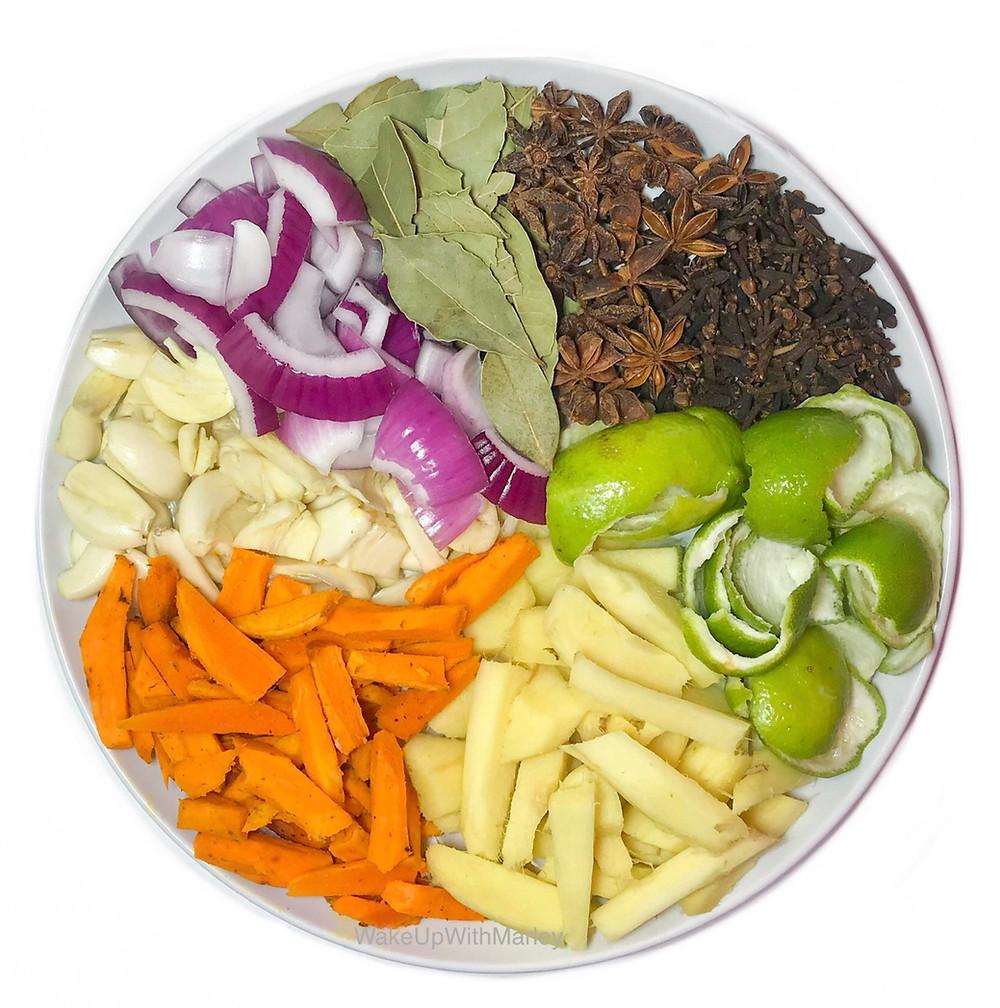 Fresh vegan ingredients on a plate