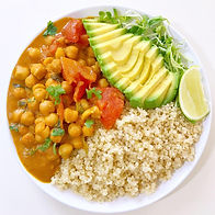 Coconut Curry Chickpea - flavorful vegan assortment of coconut curry chickpea
