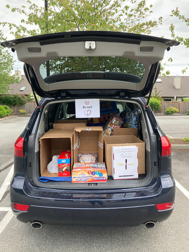 The trunk full of donations!
