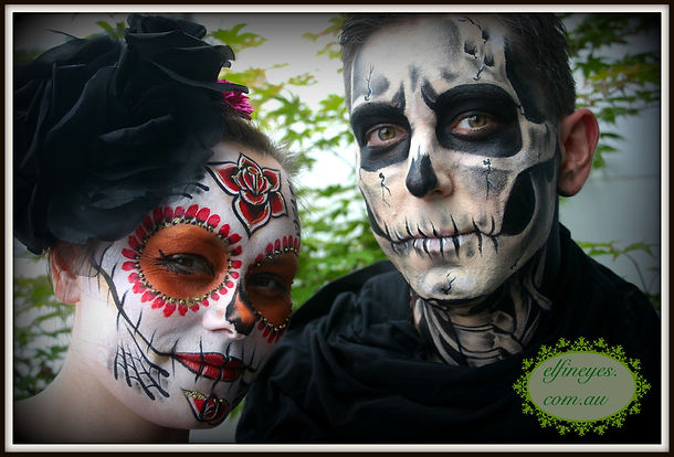 halloween, facepainting, day of the dead