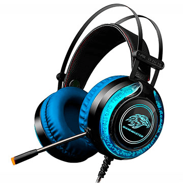 Headset Gamer K-Mex Mic ARS930 Preto Azul Led RGB