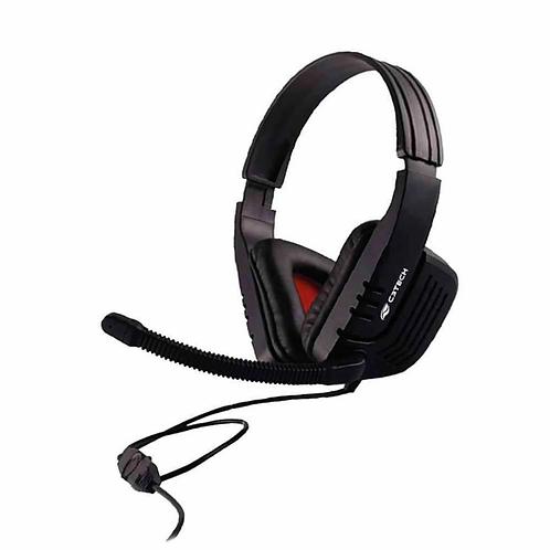 Headset C3Tech, Predator MI-2558RB, Preto e vermelho