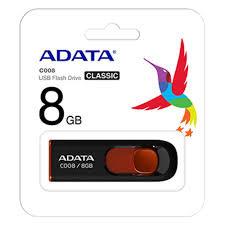 Pen Drive ADATA AC008 8GB Preto/Vermelho