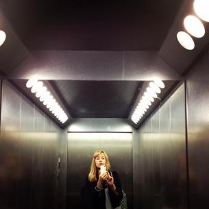 Elevator self portrait, 2014.