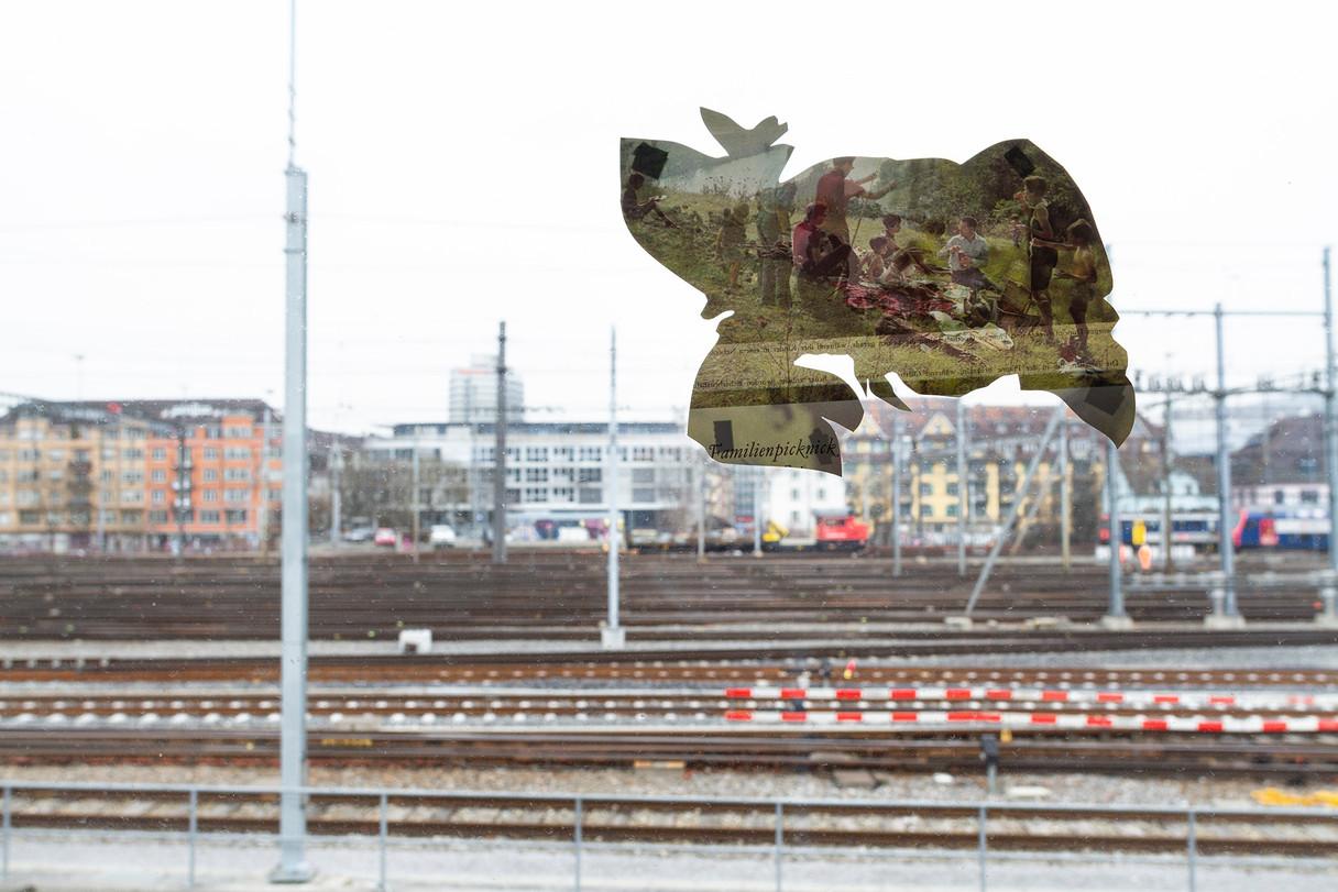 Collage on window, Kunsthaus Aussersihl, OG9 Studios