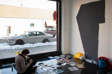Preparing our exhibition with Nicolas Sobrero, El tigre Celeste Gallery, 2009