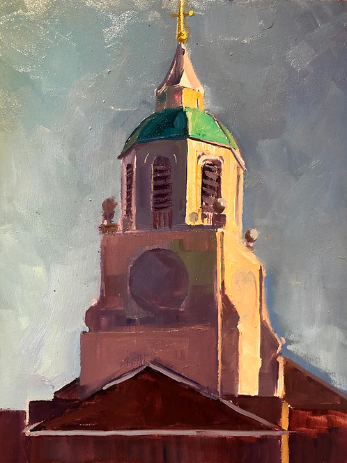 Holy Trinity Clapham, Striking morning light on the bell tower
