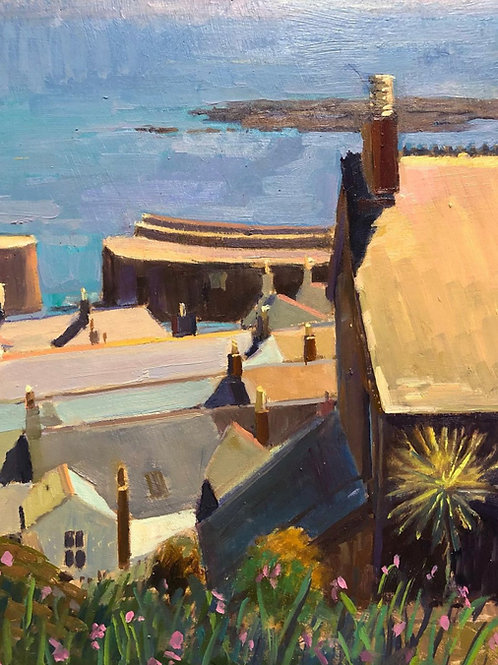 Through the Chimney pots to the harbour, Mousehole, Cornwall