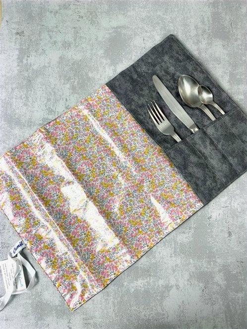 Etui à couverts et set de table intégré - Liberty enduit jaune/rose - gris