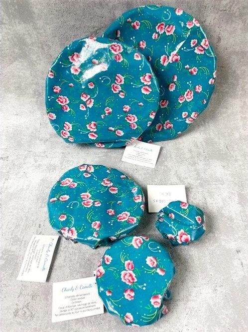 Couvercle alimentaire - Coton enduit - Pivoine bleu turquoise