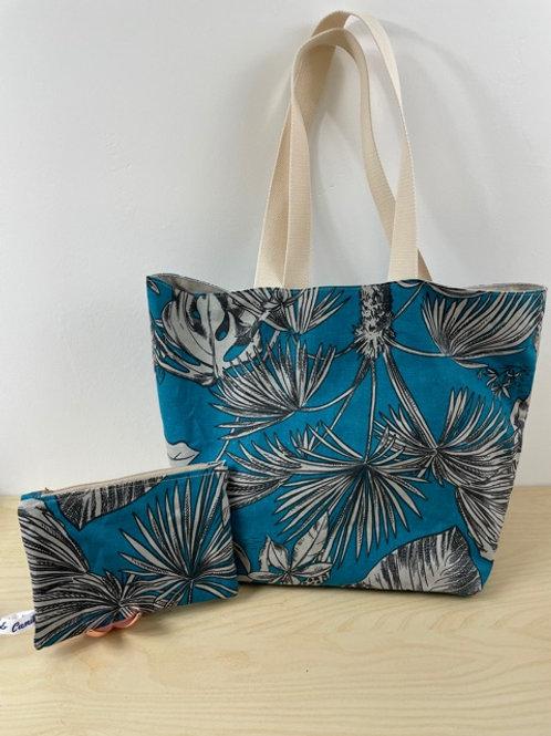 Grand Cabas Jungle Bleu paon - Porté épaule