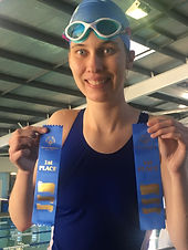 Special olympics swimming competition after collecting my ribbons.