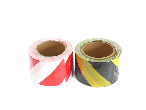 SAFETY TAPE 75mm x 100M LENGTH RED AND WHITE
