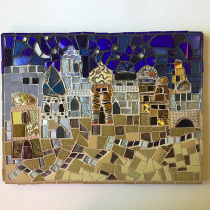 Moroccan Buildings in Moonlight  Wall Hanging (inset: close up)