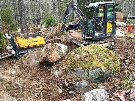 Bortforsling av sten och rötter!