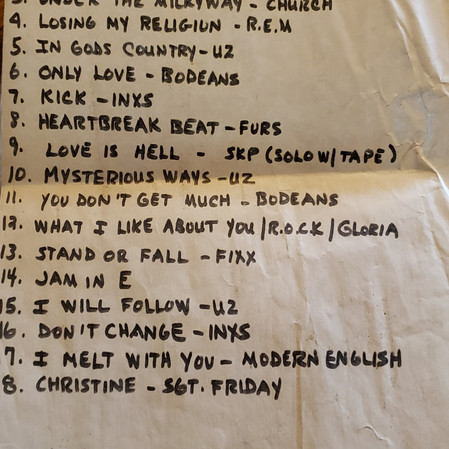 Sgt Friday 1992 Reunion songlist