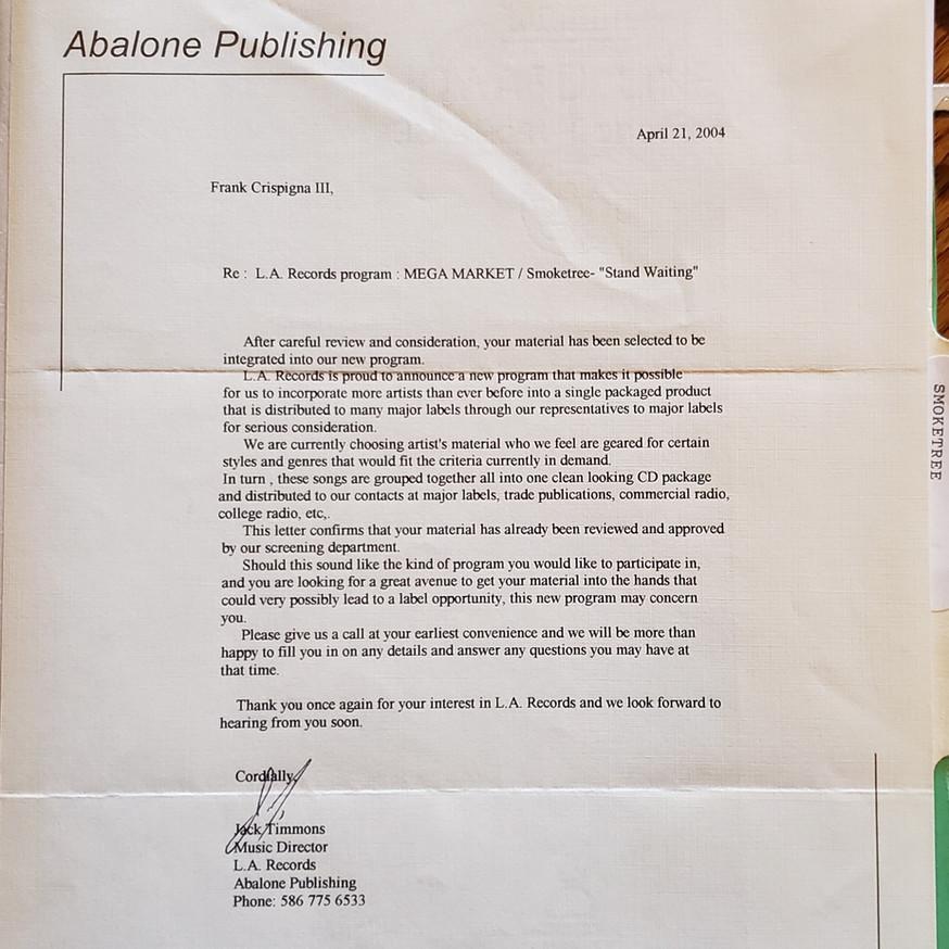 Smoketree_LA Records letter