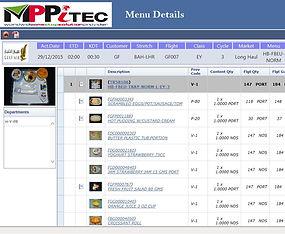 Catering menu spec display