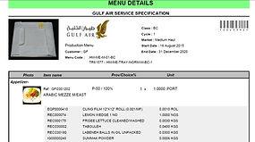 menu spec technical specifications