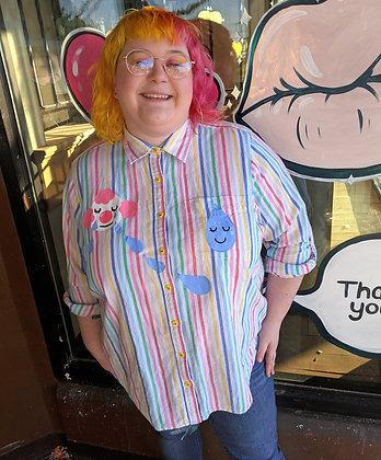 """Sad Happy"" Upcycled Button Up Shirt"