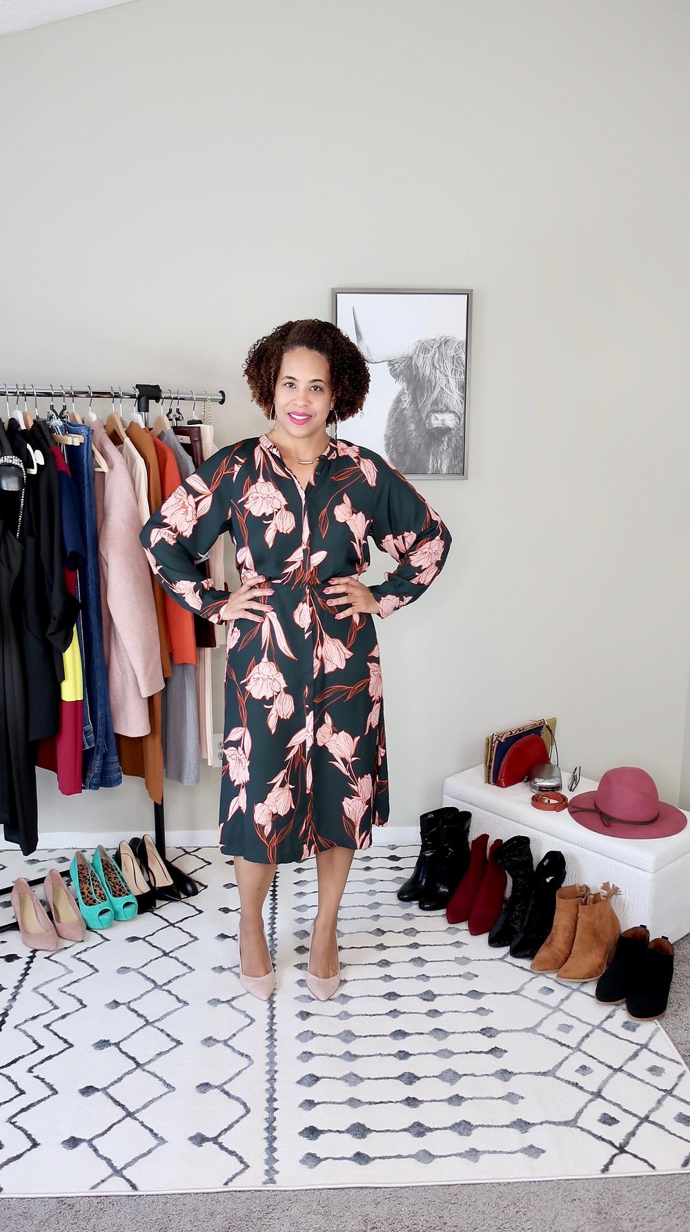 Woman wearing a floral midi dress