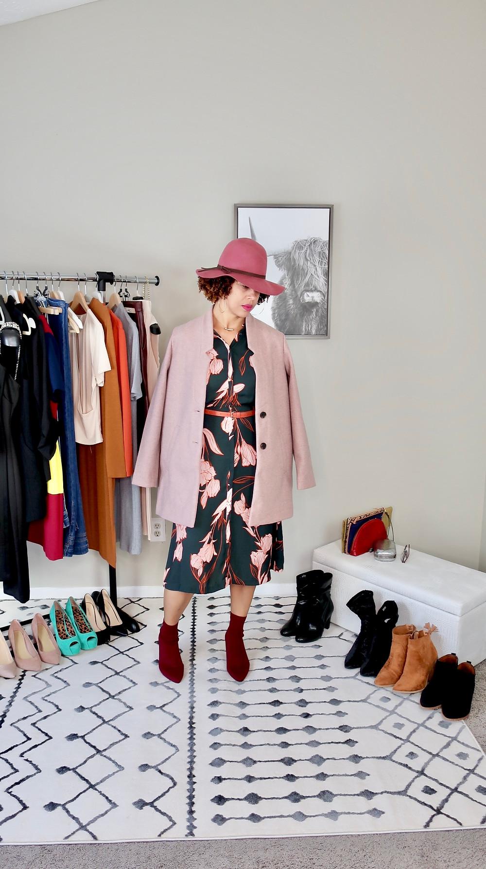 Blogger modeling a hat