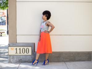 Style Alert: Coral Pleated Midi Skirt