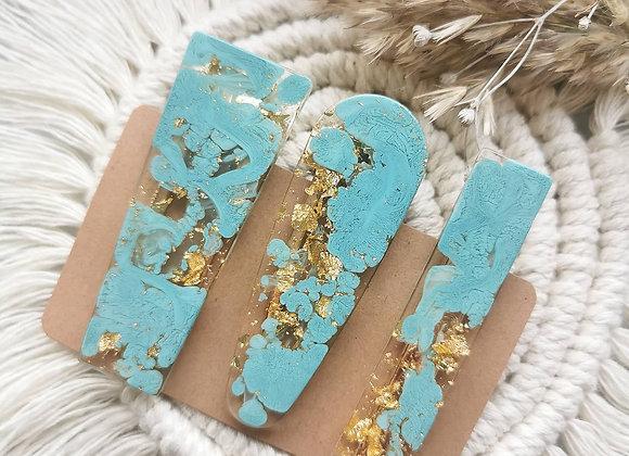 Haarklammer - Set in Pastellblau/Gold