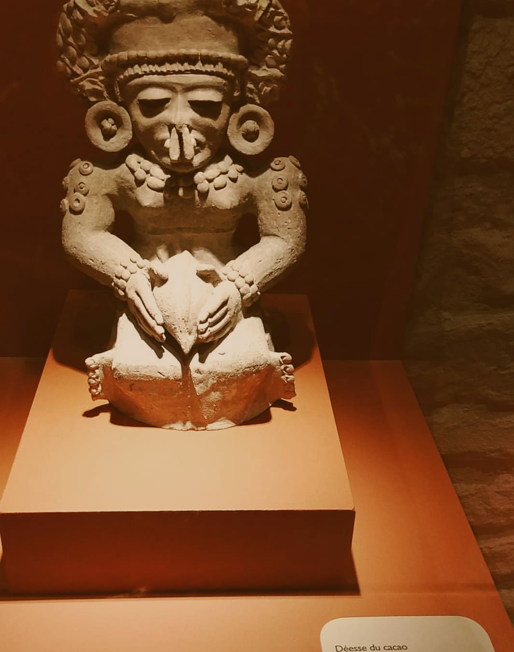On a recent trip to Paris over the Christmas holiday, I visited the Chocolate Museum and learned about the history of chocolate. Pictured here is the Aztec Goddess of Cocoa or Déesse du Cacao
