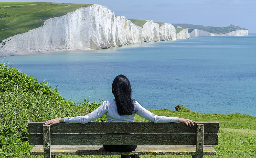 lady, bench, quiet, peaceful, relax, hypnosis, sea, cliffs