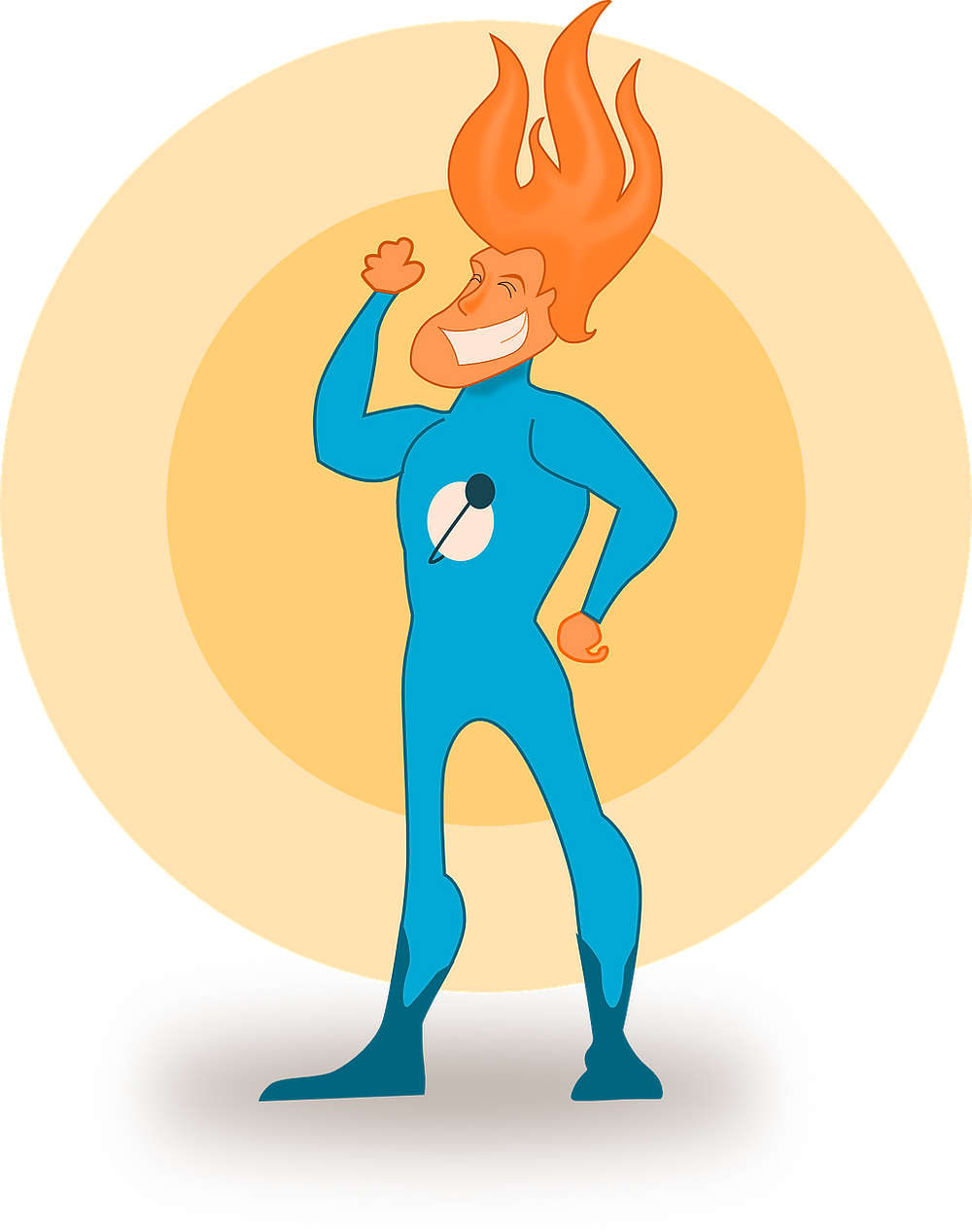 Super hero, confident, cartoon image