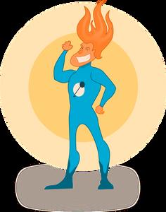 Super hero, confident, cartoon image