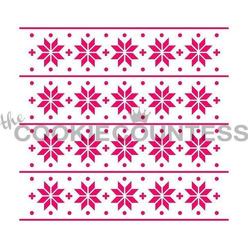 Snowflakes & Stripes Stencil