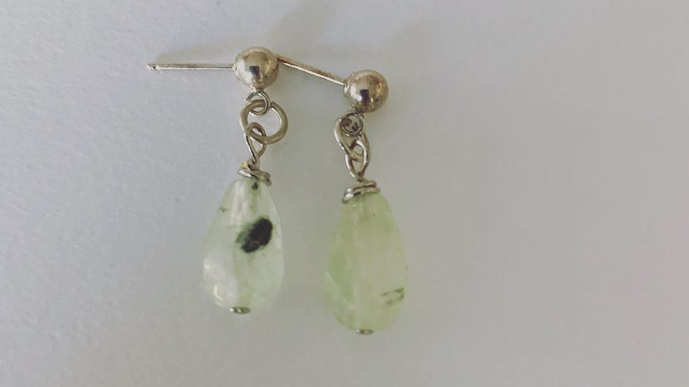 Jade and Silver Post Earrings
