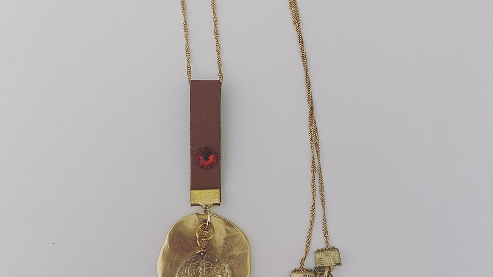 Long Gold Plated and Leather Necklace