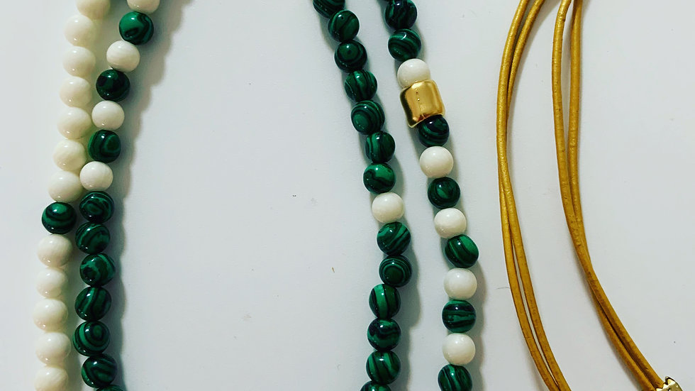 Green and White Agate Necklace