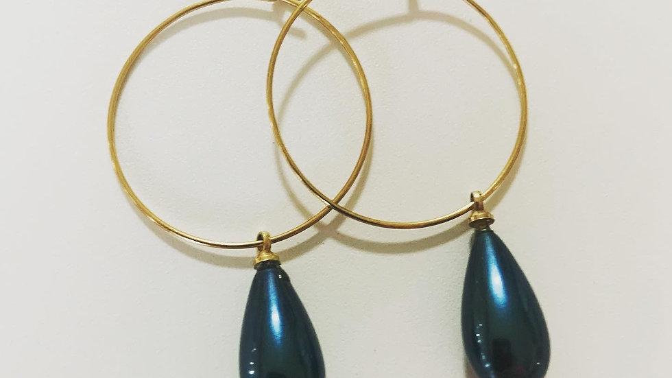 Blue Slate Hoop Earrings