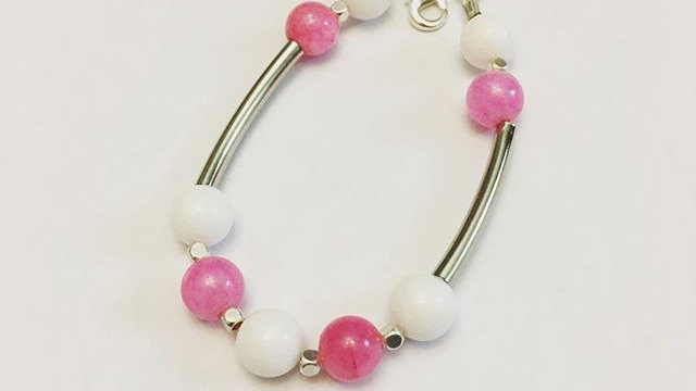 Pink and White Holiday Bracelet