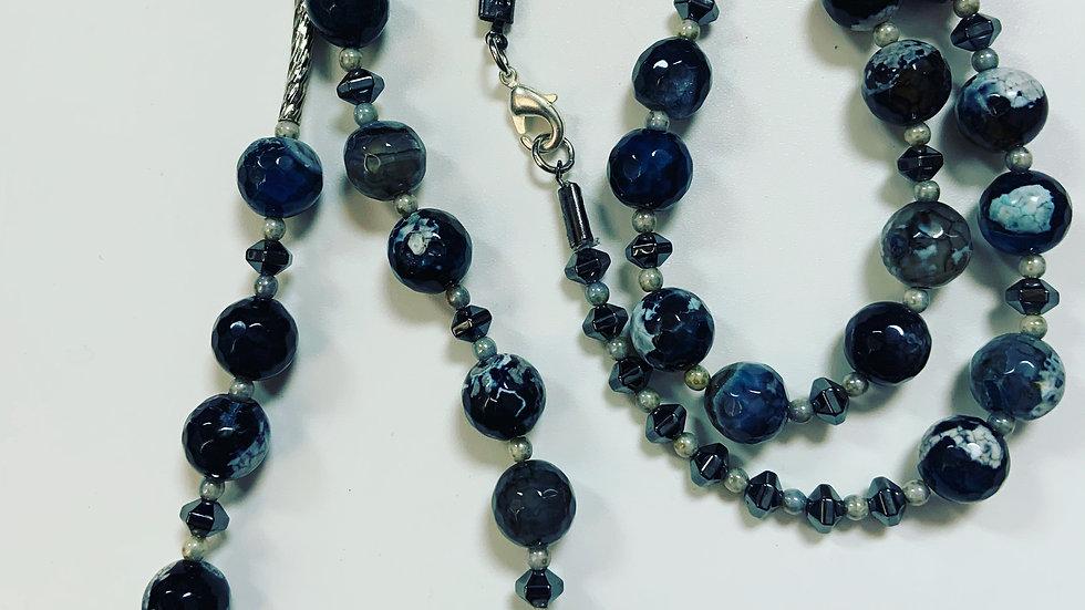 Cobalt Blue and Black Agate Necklace