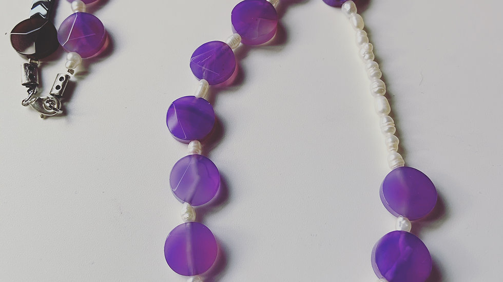 Pearl and Lavender Necklace
