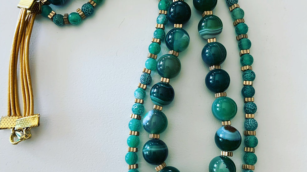 Green Agate and Jade Necklace