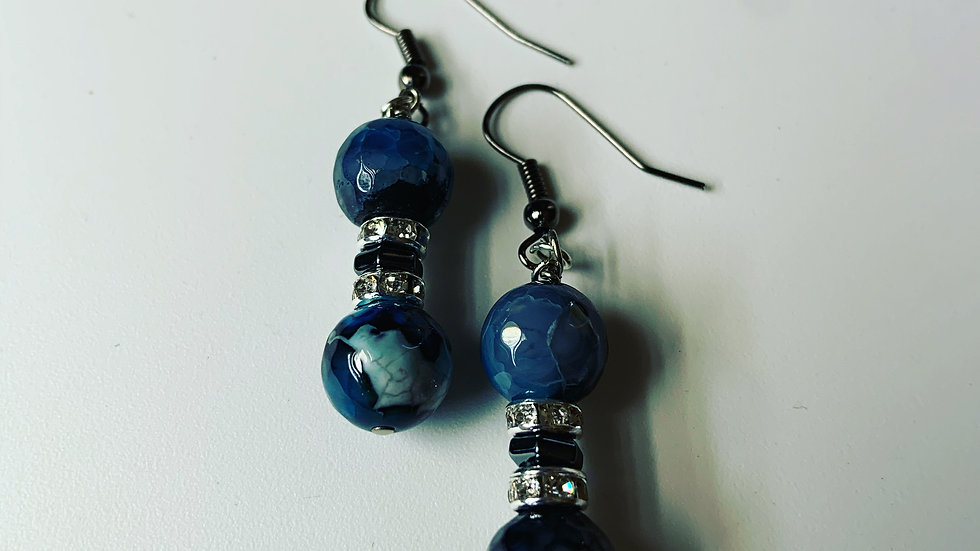 Cobalt Blue and Black Agate Earrings