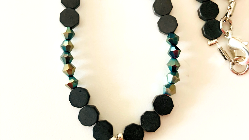 Peridot Black Slate Necklace