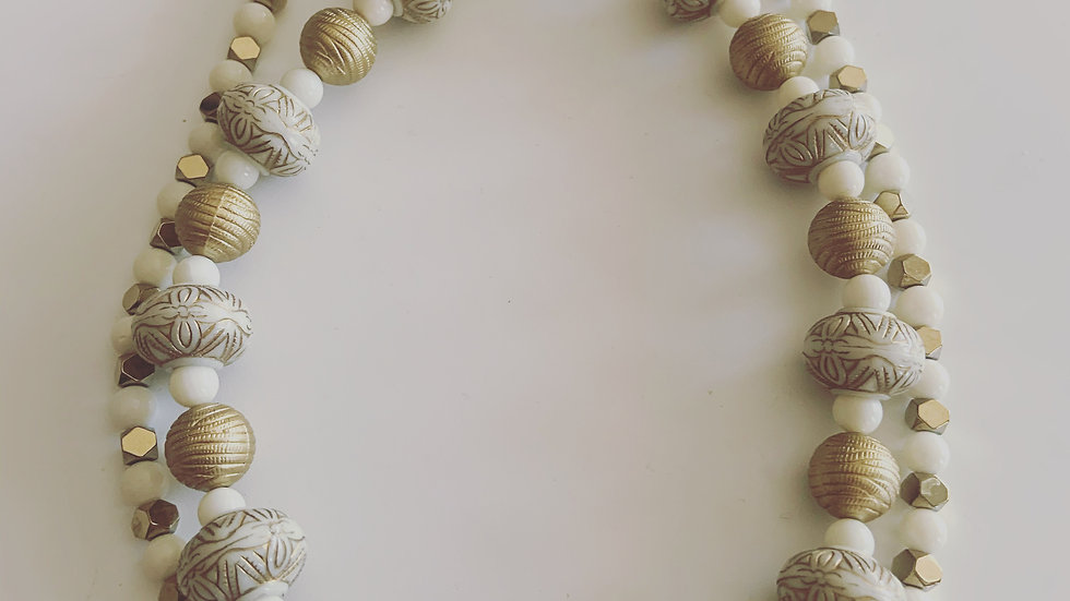 Winter White & Gold 2 Stranded Necklace