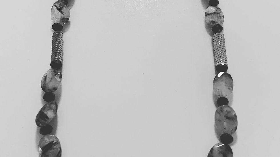 Black & White Tourmaline Quartz Necklace