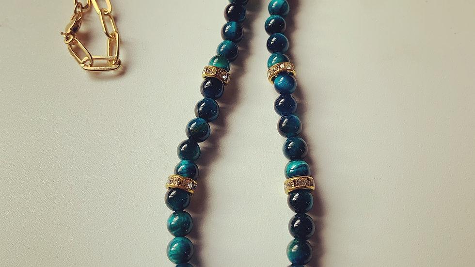 Dark Green-Blue Stone Pearl Necklace