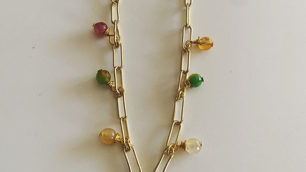 Golden Link Beaded Necklace