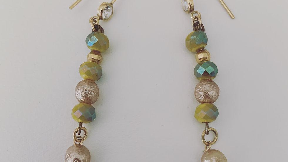 Golden Green Beaded Earrings